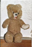 OURS ANCIEN ARTICULATION RONDELLES PAILLE  ANNEE 1950  YEUX EN VERRE 50CM - Teddybären