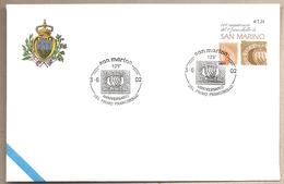 San Marino - Busta FDC Con Annullo Speciale: 125° Primo Francobollo Di San Marino - 2002 - Francobolli Su Francobolli