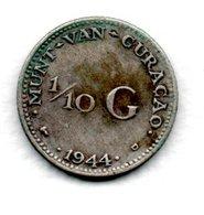 Curacao  - 1 / 10 Gulden 1944 D  -  état  TB+ - Curaçao