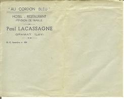 """Vieille Enveloppe De GRAMAT ( LOT ) """" AU CORDON BLEU - Hotel-restaurant """" Paul Lacassagne . - Documents Historiques"""