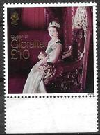 GIBRALTAR- 2015- Queen Elizabeth- High Value  With  22 Ct Gold  Print- MNH- With  Visible Smudges On The Back Side. - Familles Royales