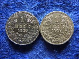 BULGARIA 1 LEV 1910 KM28, 1913 KM31 - Bulgarije