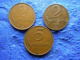 LATVIA 2 SANTIMI 1922, 1926 KM2, 5 SANTIMI 1922 KM3 - Lettonie