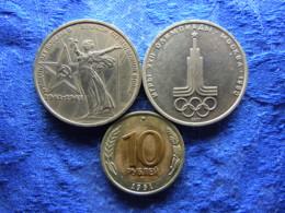 RUSSIA 1 ROUBLE 1975 KM142.1, 1977 KM144, 10 ROUBLES 1991 KM295 - Russie