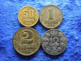 YUGOSLAVIA 50 PARA, 1, 2,10 DINARA 1938, KM18-KM20, KM22 - Joegoslavië
