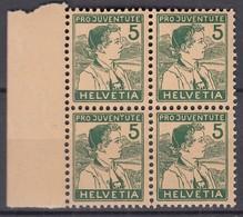 SCHWEIZ  128, 4erBlock, Postfrisch **, Pro Juventute 1915, Trachtenjunge - Ungebraucht