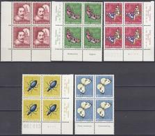 SCHWEIZ  MiNr. 632-636, 4erBlock  Z.T. Mit Eckrand Und Insektennamen, Postfrisch **, Pro Juventute 1956, Insekten - Nuovi
