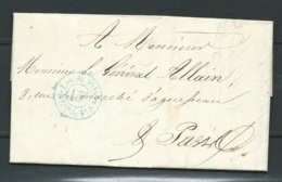 """Cachet Bleu  Levée """" Lev De 2 H1/2 - Bureau J - Dom De 4 H.S """" 15 Cents ( Tarif Paris Pour Paris Au 19/12/1848-  LL17207 - Posttarife"""