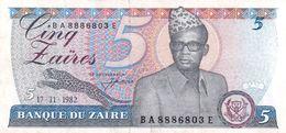 Zaire P.26   5 Zaires 1982 Vf+ - Zaïre
