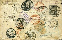 Entier 10c Sage DUNKERQUE Pour Londres Retour à L'envoyeur Nombreux Cachets. Fatigué Plis Mais Très Interessant 1894 - Entiers Postaux