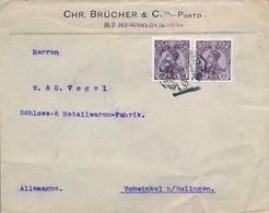 1910 , PORTUGAL , SOBRE CIRCULADO , OPORTO - VOHWINKEL , D. MANUEL II 161 X 2 - 1910 : D.Manuel II