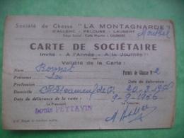 Carte Societaire Societe De Chasse La Montagnarde Allenc Pelouse Laubert - Other