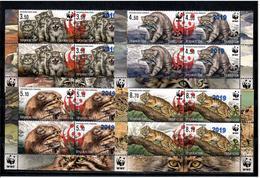 Tajikistan 2019 . WWF. Ovpt Red Panda 2019 20.0s On Manul 4 Pairs + Label - Tajikistan