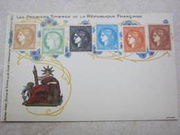 Carte Postale Les Premiers Timbres De La République Française - Francobolli (rappresentazioni)