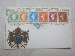 Carte Postale Les Premiers Timbres De L'Empire Français - Francobolli (rappresentazioni)