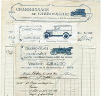 NICE - Giraudo Carrossier-charron, Rue De La Gendarmerie - 3 Modéles De Factures Au Long Du Temps - Automobile