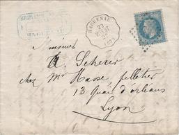 1868 - Convoyeur Station HAGUENAU WIS ST. Griffe SP 2° Pour Lyon, Empire Lauré, Alsace, Bas Rhin - 1849-1876: Klassieke Periode