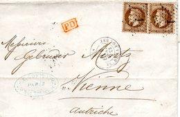 Lettre Du 6 Janvier 1872 Au Départ De Paris Pour Vienne ( Autriche) Avec Un Paire De N° 30 - 1849-1876: Periodo Classico