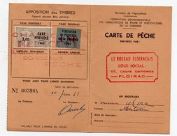 Floirac (33 Gironde) Carte De Pêche  Avec Timbre Taxe Piscicole 1961 (PPP21509) - Revenue Stamps