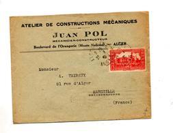 Lettre Cachet  Alger Sur Amirauté + Muette Marseille - Algeria (1924-1962)
