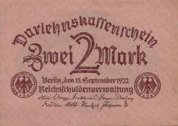 1922 Germany DARLEHNSKASSENSCHEIN P#62 - 2 Mark