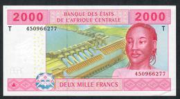 C.A.S. LETTER T CONGO  P108Tc 2000 FRANCS 2002 Signature 11  AUNC. - Stati Centrafricani