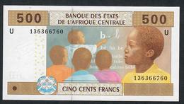 C.A.S. LETTER U CAMEROUN   P206Uc 500 FRANCS 2002 BECOMING RARE SIGNATURE 7  UNC. - États D'Afrique Centrale