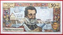 N°19 BILLET BANQUE DE FRANCE 50 NF HENRI IV 1959 - 1959-1966 ''Nouveaux Francs''