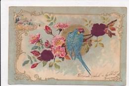 CP GAUFRE Perroquet Fleurs - Fantaisies