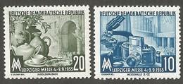 East Germany/DDR. 1955 Leipzig Fair. SG E222-223. CV £3.00. MNH - [6] Repubblica Democratica