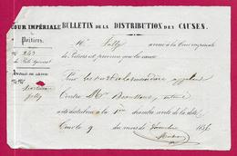 Bulletin De La Distribution Des Causes - Cour Impériale De Poitiers - Année 1856 - Décrets & Lois