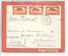 MAROC Par Avion 1927 Casa-Toulouse Le 8.9.27 Arrivé à Colombier Suisse Le 12.9.27 . Avec Strip De 3 Timbres Attachés - Marokko (1956-...)