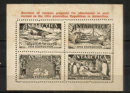 Australian Expedition To Antarctica 1954. Souvenir Sheet (for Attachment To Mail Carried From Antarctica Sations) - Expéditions Antarctiques
