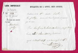 Bulletin De L'Appel Des Causes - Cour Impériale De Poitiers - Année 1856 - Décrets & Lois