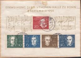 BRD Block 2, Auf Briefstück, Mit Stempel: Emlichheim 16.12.1959, Einweihung Beethovenhalle Bonn,Händel,Spohr,Mendelssohn - [7] Repubblica Federale