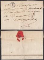 """BELGIQUE LETTRE DATE DE TOURNAI 27/02/1775 MARQUE """"T"""" DANS UN CERCLE VERS BEAUNE (BE) DC-6449 - 1714-1794 (Paesi Bassi Austriaci)"""