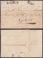 """BELGIQUE LETTRE DATE DE NAMUR 18/01/1824 """"NAMUR"""" 32 X7 Mm VERS GAND (BE) DC-6457 - 1815-1830 (Dutch Period)"""