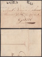 "BELGIQUE LETTRE DATE DE NAMUR 18/01/1824 ""NAMUR"" 32 X7 Mm VERS GAND (BE) DC-6457 - 1815-1830 (Holländische Periode)"
