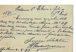 2 Cartes Commerciales 1883-95 / 59 HALLUIN / Vanderdeyben / Commande Pour Sièges à Lebrun SAINT LOUP 70 - Francia