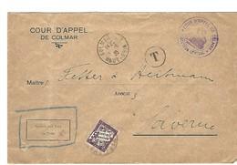 COLMAR R.P. 1.9.1935 + Taxe 50c SAVERNE 2.9.1935 Cour D'Appel - Marcophilie (Lettres)