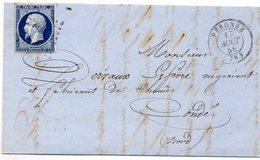 Somme - LAC Affr N° 14Aa Obl PC 2406 - Càd Type 15 Péronne - 1849-1876: Klassieke Periode