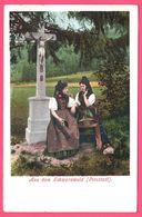Litho - Aus Dem Schwarzwald - 2 Femmes Devant Croix - Jésus - Folklore - Animée - Edit. PURGER & Co - Allemagne