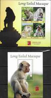PALAU, 2019, MNH, FAUNA, PRIMATES, MONKEYS, LONG-TAILED MACAQUE, SHEETLET +S/SHEET - Scimmie