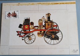 MAQUETTE TIMBRE PA 1982 DU MALI - MODEL STAMPED DRAWING PROOF FIREMAN + - Feuerwehr