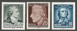 East Germany/DDR. 1955 The 150th Anniversary Of The Death Of Friedrich Von Schiller. SG E210-212. CV £5.00. MNH - [6] Repubblica Democratica