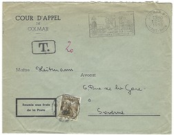 "COLMAR R.P. 2.9.1958 Flamme ""+ Taxe SAVERNE 20f 4.9.1958 Cour D'Appel - 1921-1960: Periodo Moderno"