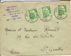 HIRSON ENTREPOT 02 Aisne Cachet A7 1951, Marianne 5f Vertx3 - Marcophilie (Lettres)