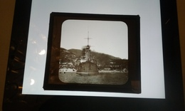 Croiseur Cuirassé Bateau Navire De Guerre  Iéna  A VILLEFRANCE-PLAQUE DE VERRE - Diapositiva Su Vetro