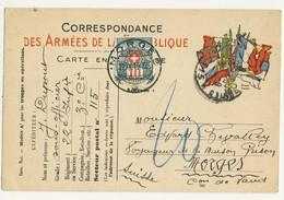 (P82) - CARTE DE CORRESPONDANCE DRAPEAUX SECTEUR POSTAL 115 => MORGES SUISSE 1915 - TP TAXE SUISSE ZUM N°32 - Marcophilie (Lettres)