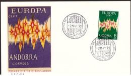 Andorra Spagnola, 8 Pesetas Europa Del 1972 Su Busta Fdc   -CK99 - Spanisch Andorra